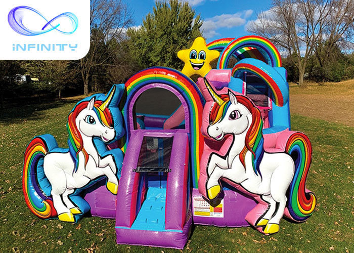 Flame Proof Unicon Combo Toddler Inflatable Jumping Castle With Slide